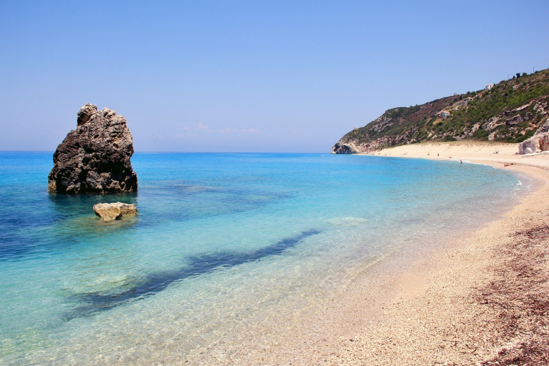 Mylos beach in Lefkada island in Greece